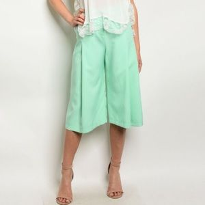 Mint Flare Culotte Cropped Pants